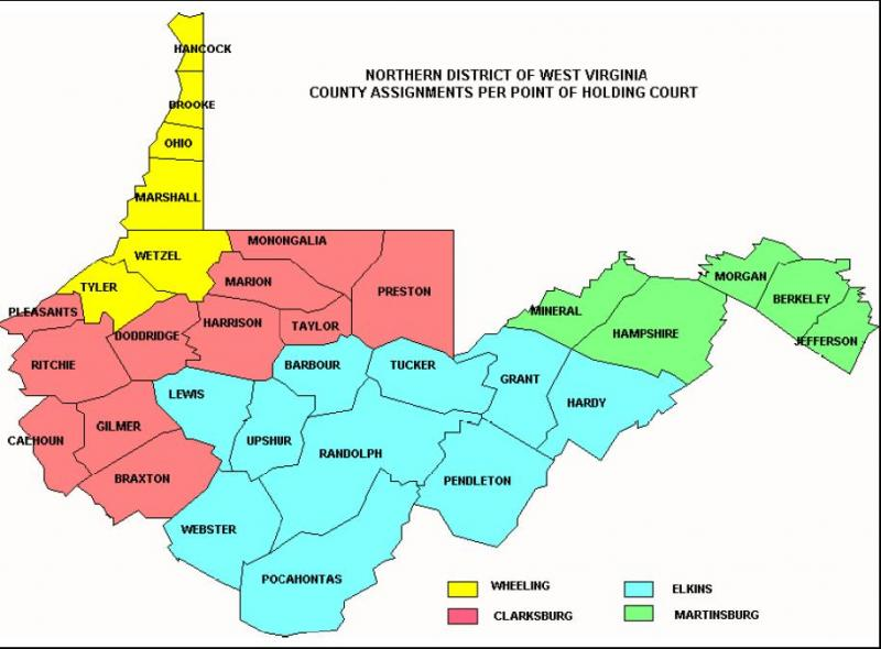 Jury Info Northern District Of West Virginia United States - West virginia county map